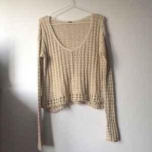 Free People Knit Crochet Sweater Extra Long Sleeve